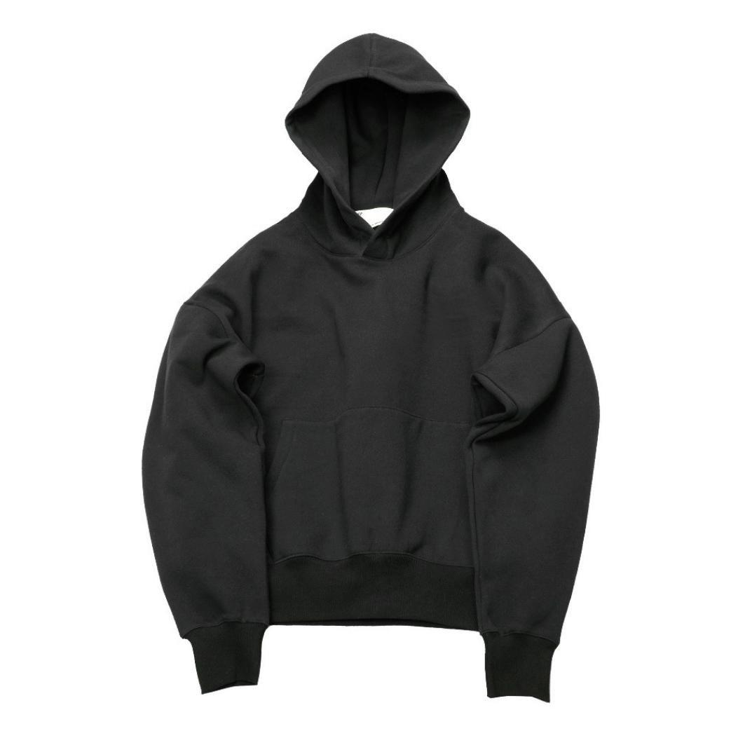 challyhopeユニセックスゆったりフリース暖かい長袖ソリッドプルオーバーフード付きスウェットシャツ M ブラック CH-PC-178300082 B075KNV317 Medium|ブラック ブラック Medium