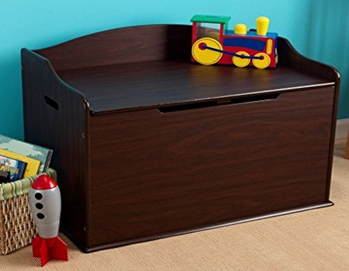 Toy Box, Espresso, Functional , Safety Hinge on Lid Protects Young Fingers from Getting Pinched, Made of Wood, Doubles as a Bench for Additional Seating, Bundle with Expert Guide for Better Life by Home X Style