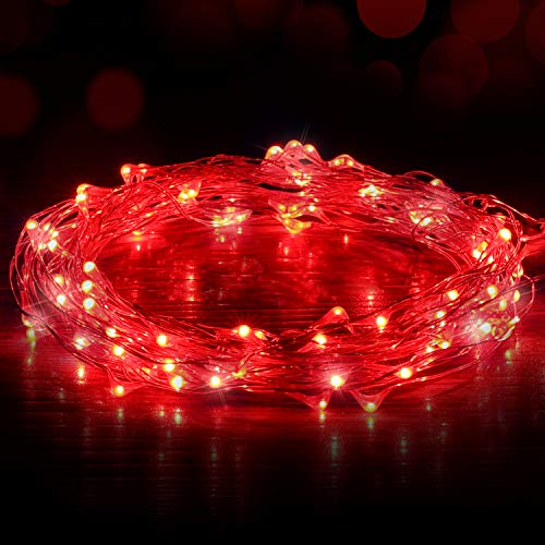 Red Led Christmas Lights With Red Wire in US - 7