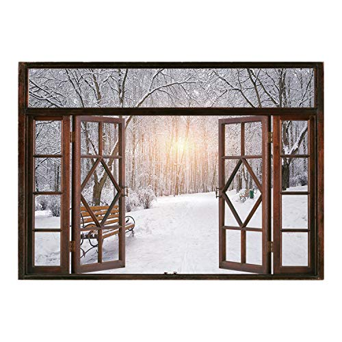 SCOCICI Creative Window View Home Decor/Wall Décor-Winter,Snow Covered Leafless Trees and Benches in The City Park Sunset Woodland Outdoors Decorative,/Wall Sticker ()