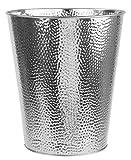 Home Basics Hammered Stainless Steel 5 Liter Waste Bin Wastebasket Garbage Can (Silver)