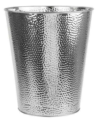 Home Basics Hammered Stainless Steel 5 Liter Waste Bin Wastebasket Garbage Can (Silver) by Home Basics