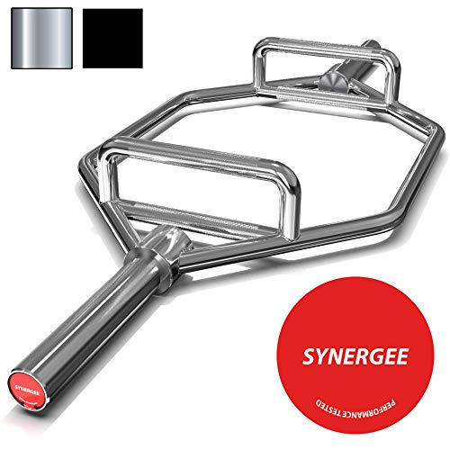 Synergee 25kg Chrome Olympic Hex Barbell Trap Bar with Two Handles for Squats, Deadlifts, Shrugs and Power Pulls. 56