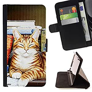 Momo Phone Case / Flip Funda de Cuero Case Cover - Rayas gato Happy Sleeping naranja del arte; - HTC Desire 626