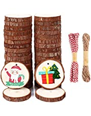 SOLEDI Wood Slices Natural Wood Ornaments with Hole Unfinished Wood Slices for Christmas Decorations Hanging DIY Crafts with Jute Twine and Red Cotton for Wedding Decorations or Wood Burning