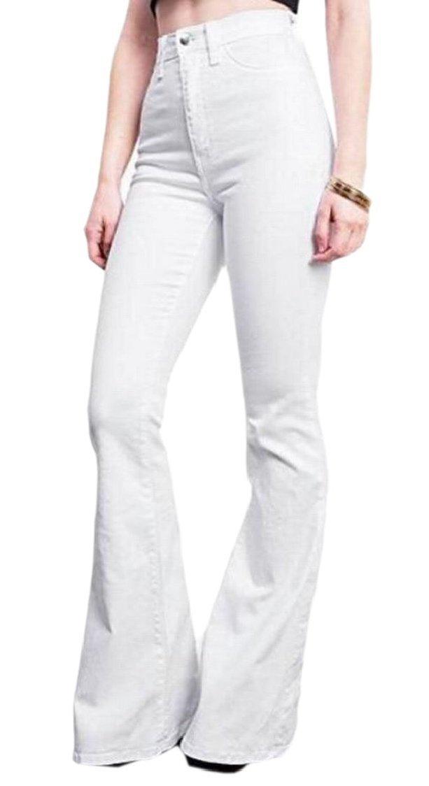 XQS Women's Solid Color Bootcut Zipper Hot Pants Shorts Denim High Waist Jean White M