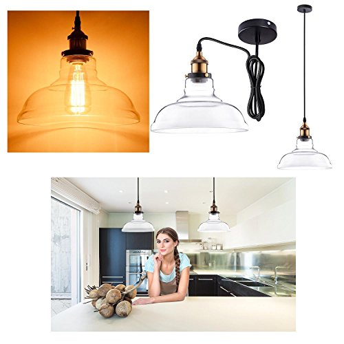 """GC Global Direct 11"""" Clear/Amber Pendant Light Industrial Copper Hanging Lamp (11"""