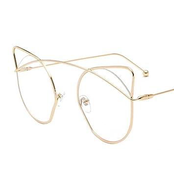 Aoligei Personnalité chat lunettes chat oreilles métal rond cadre Dame Star lunettes de soleil MKPIc