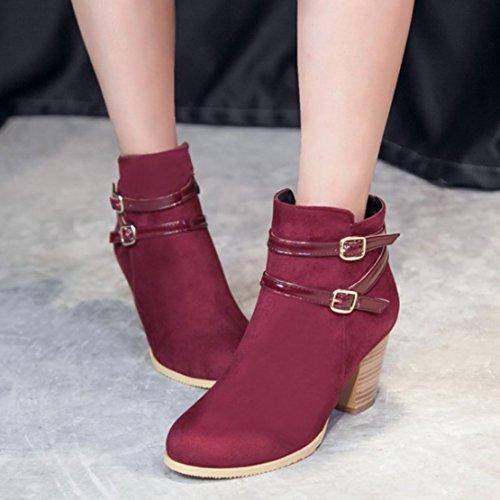 a4c03e78470833 ... AIYOUMEI Damen Blockabsatz Reißverschluss Stiefeletten mit Schnalle und  7cm Absatz High Heels Elegant Kurzschaft Stiefel Weinrot