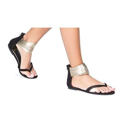 Juleya Damen Sommer Sandalen Elegant Flach Elegant Sandalen Zehentrenner Frauen Peep ... 0e4ef2