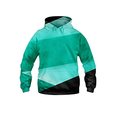 3D Hoodies Autumn Winter StripePrinting Sportwear Casual Style Outwear Mens Pullover Fashion Sweatshirt With Hat Turquoise