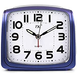 TXL Silent Alarm Clock Digital LED Large Display Battery Portable Analog Quiet Sweep Desk Clock with Night Light/Snooze/4 Ascending Alarms, Easy to Set Clock for Seniors/Bedroom/Kitchen/Office, Blue