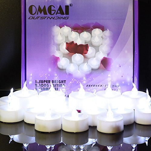 OMGAI 24 PCS LED Tea Lights Candles Battery-Powered Small Bright Flickering Flameless Candles for Home Decoration - Cool White by OMGAI (Image #2)