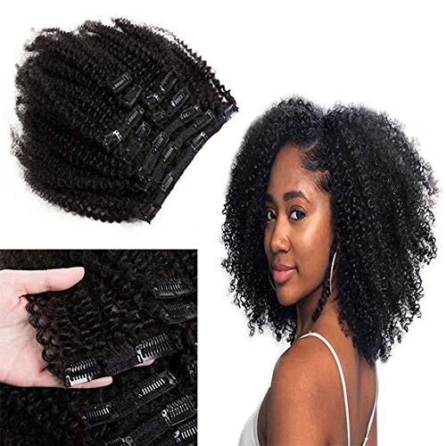 SAGA QUEEN Hair Mongolian Afro Kinky Curly Clip In Hair Extensions 8pcs 18clips 120g/bundle Mongolian Virgin Remy Human Hair (1 bundle 12inch, natural black)