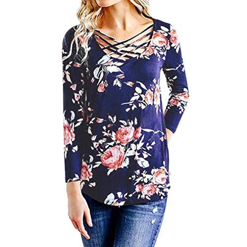 Cross avec manches Bleu shirt 14 Taille pour Zhrui à imprimé femmes Tee Cn Blanc floral longues couleur Criss Xluk Front qBpxP0A