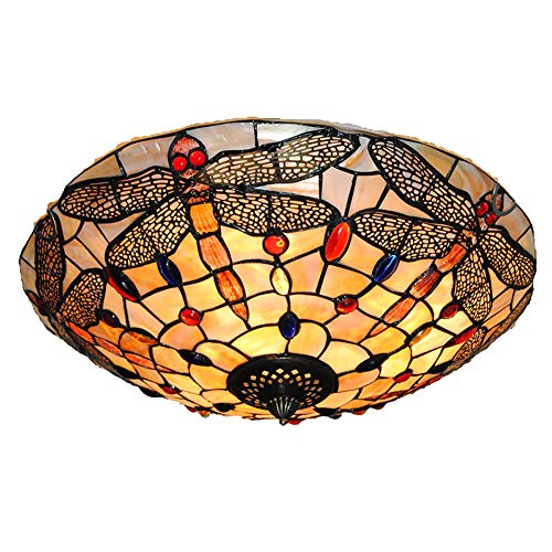 Tiffany Glass Flush Mount Ceiling Light Vintage Dragonfly Stained Lampshade Hanging Pendant Lamp Fixture (40CM) ()