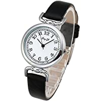 Top Plaza Women's Girl's Simple Casual PU Leather Analog Quartz Bracelet Dress Watch Arabic Numerals Small Dial Business Wristwatch(Black)