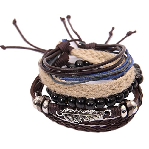 Botrong Multi Layer Leather Alloy Leaf Beads Bracelet Charms Rope Brown Wristband for Women