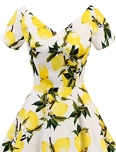 Dress Dress V Vintage Lemon Gardenwed Flower Rockabilly Evening 1950s Cocktail Retro Women's Party Neck PZZwqTY