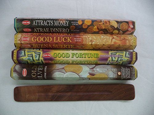 Hem Incense Sticks Attracts Money Good Luck Good Fortune Gold Silver = 80 Sticks + Burner!