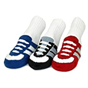 Organic Baby Socks 3-Pairs Gift Set -Joggers- Cute Boys Shoes Sneakers Non-Skid