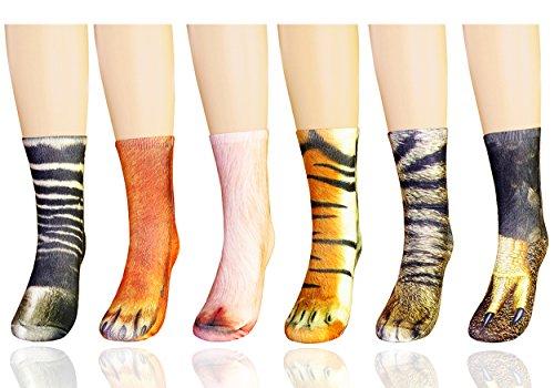 MYMYU 3D Socks Unisex Adult Big Kids Animal Paw Crew Socks - Sublimated Print Paw Print Tube Sock (Adult, Color 7)
