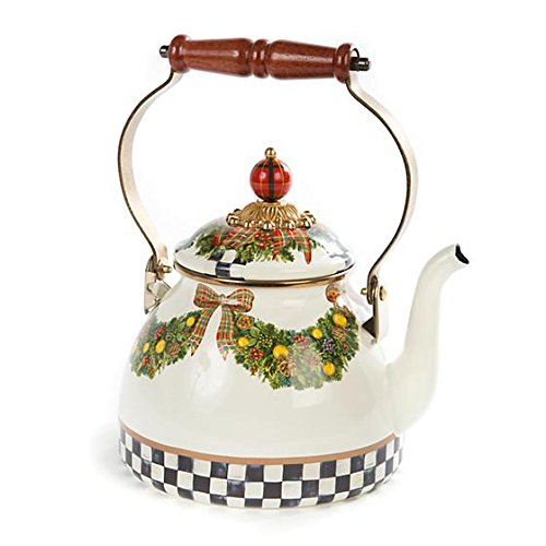 MacKenzie-Childs, Evergreen, White Enamel Tea Kettle, 2 Quar