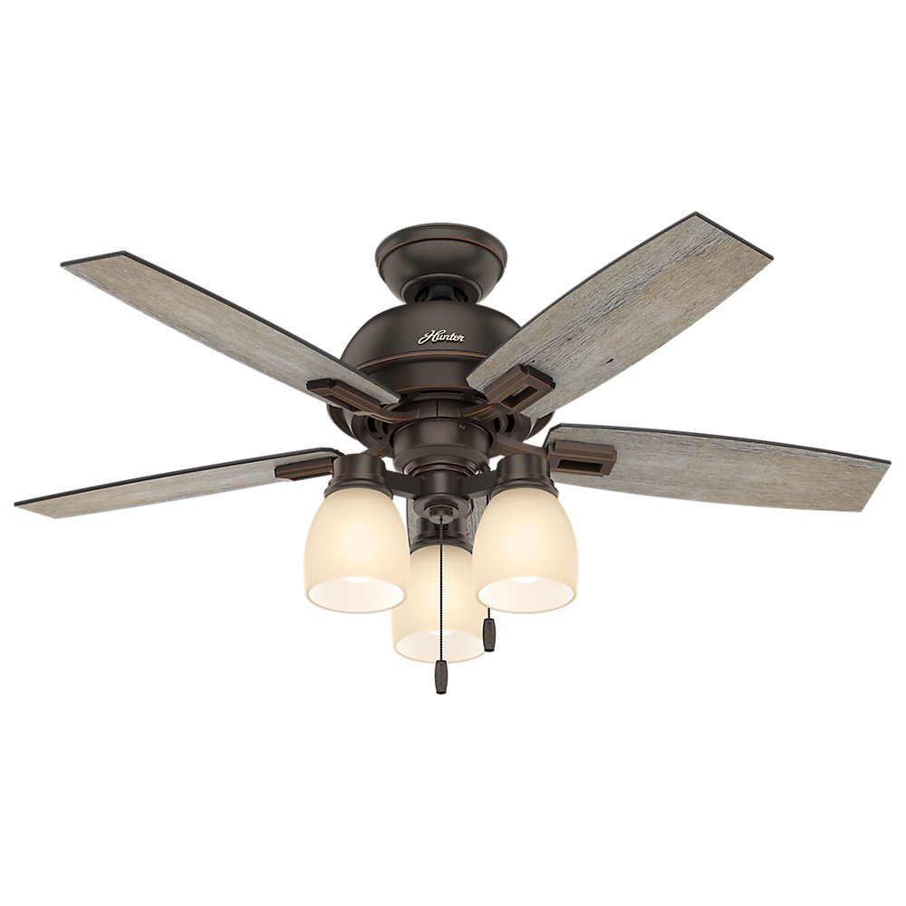 Hunter 52228 Casual Donegan Three Light Onyx Bengal Ceiling Fan With Light, 44''