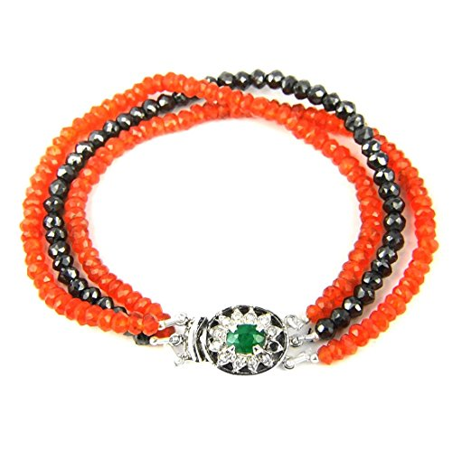 3-4 mm Round Black Diamond & Carnelian Gemstone Bracelet With Emerald Clasp by GemsRiver