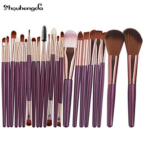 LUXSEA Professional Makeup Brushes Eyebrow Eyeliner Lip Blusher Foundation Powder Cosmetic Maquiagem Tools 22Pcs (Powder Copper Foundation)