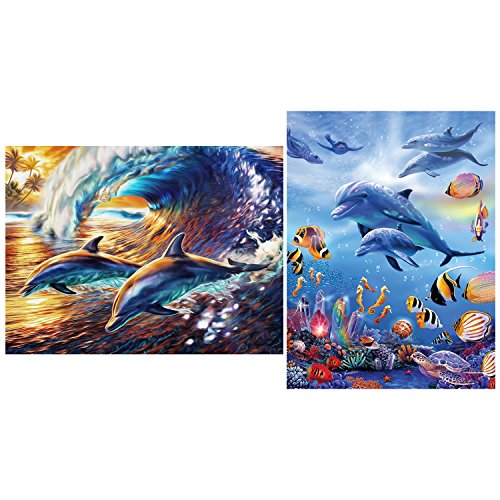 - SoFire 2 Pieces 5D DIY Diamond Painting Kit, Dolphin Family Partial Drill Cross Stitch Arts Craft Supply for Home Wall Decoration