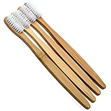 Bamboo Toothbrush - Biodegradable Wooden BPA-Free Medium Bristle Toothbrushes for Extra Clean Teeth - Natural Dental Care - 4 Count
