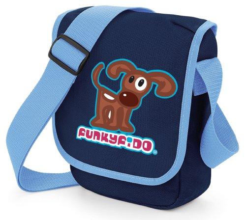 Funky Fido Cane Terrier Bruno-Bianco Piccola Borsa a Tracolla Blu Dimensioni 23x17x7 cm