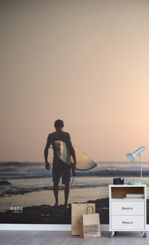 fotomural de papel pintado XL surfista con tabla de surf rojo atardecer, azul y negro - 158847 - de ESTAhome.nl: Amazon.es: Bricolaje y herramientas
