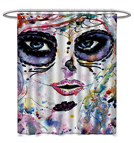 Anhuthree Sugar Skull Shower Curtains Sets Bathroom Halloween Girl with Sugar Skull Makeup Watercolor Painting Style Creepy Look Bathroom Accessories W72 x L72 Multicolor -