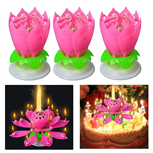 Blogger 3 Pcs New Generation Birthday Candles Amazing Singing Rotating Musical Lotus Flower Luminous Romantic Party Surprised Gift Light For