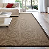 iCustomRug Zara Synthetic Sisal Collection Area Rug and Custom Size Runners, Softer Than Natural Sisal Rug, Stain Resistant & Easy to Clean Beautiful Border Rug in Chocolate 5' x 8'