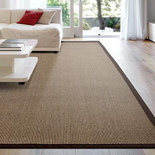 - iCustomRug Zara Synthetic Sisal Collection Rug and Runners, Softer Than Natural sisal Rug, Stain Resistant & Easy to Clean Beautiful Border Rug in Chocolate 5 Feet x 8 Feet (5' x 8')