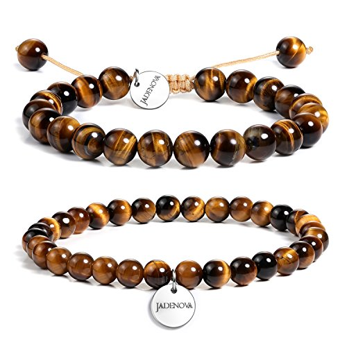 - JADENOVA 6/8mm Natural Yellow Tiger Eye Gemstone Bracelets Round Beads Stretch Bracelet Adjustable Beaded Bracelet Couple Distance Bracelets Unisex (2pcs Bracelet Set)