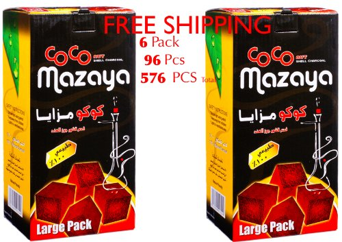 6 - Box of 96pcs Coconut Coco Mazaya Premium Lighting Hookah Hokah charcoal coals- TOTAL 576 Pieces by Coco Mazaya CocoMazaya Charcoal Hookah Hokah