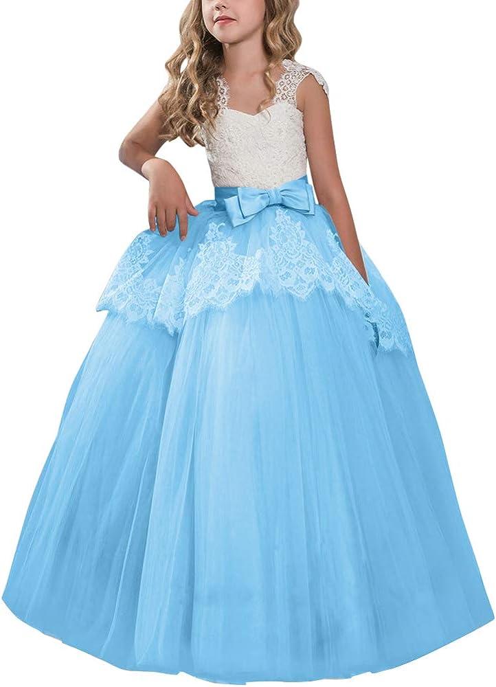 Girls Flower Dress Large Rose Bow Sleeveless Formal Party Wedding Bridesmaid OT