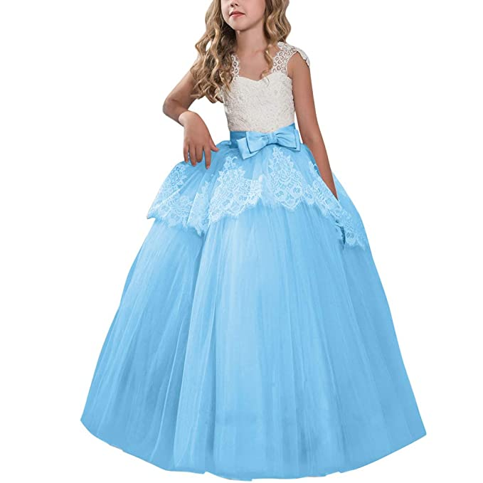 f464cf141 Amazon.com  Big Girl Flower Ball Gowns Princess Pageant Vintage Lace ...