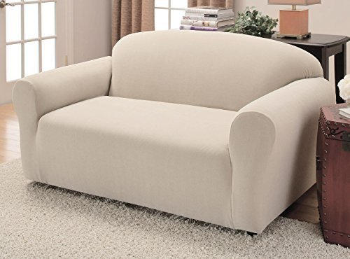 Amazon.com: JERSEY STRETCH Form Fit Couch Cover 2 Pc Slipcover Setu003dSofa+Loveseat  Covers IVORY / BEIGE Color: Home U0026 Kitchen