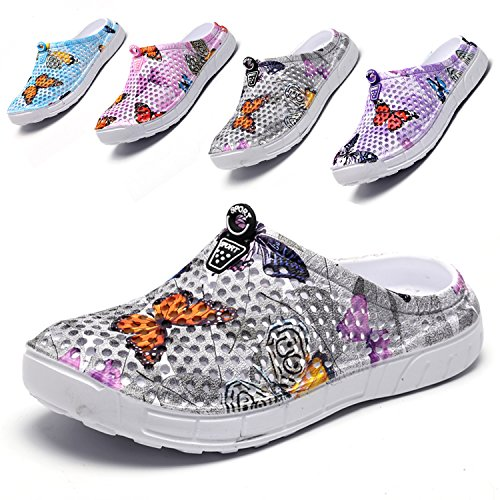 Garden Clogs Shoes Womens Mens Mesh Quick Drying Beach Sandals Butterfly Grey 39