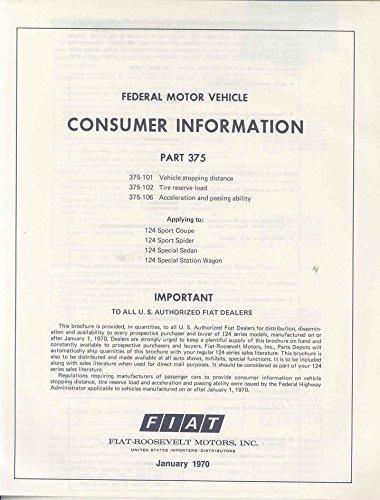 1970 Fiat 124 Spider Coupe Consumer Info Sedan Brochure