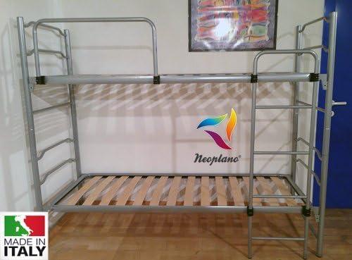 Neoplano - Litera Mónica con somieres de láminas de haya, divisible en dos camas individuales - Ortopédico, securo, sólido, con escalera y barandilla de seguridad: Amazon.es: Hogar