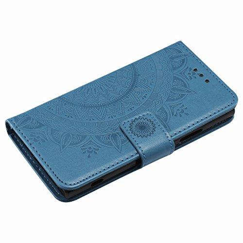 Laybomo Sony Xperia XA2 Ledertasche Schuzhülle Weiches TPU Silikon Cover Magnetisch Stehen Brieftasche Schale Handyhülle für Sony Xperia XA2 mit Kartensteckplatz, Zauberarray (Golden) Blau