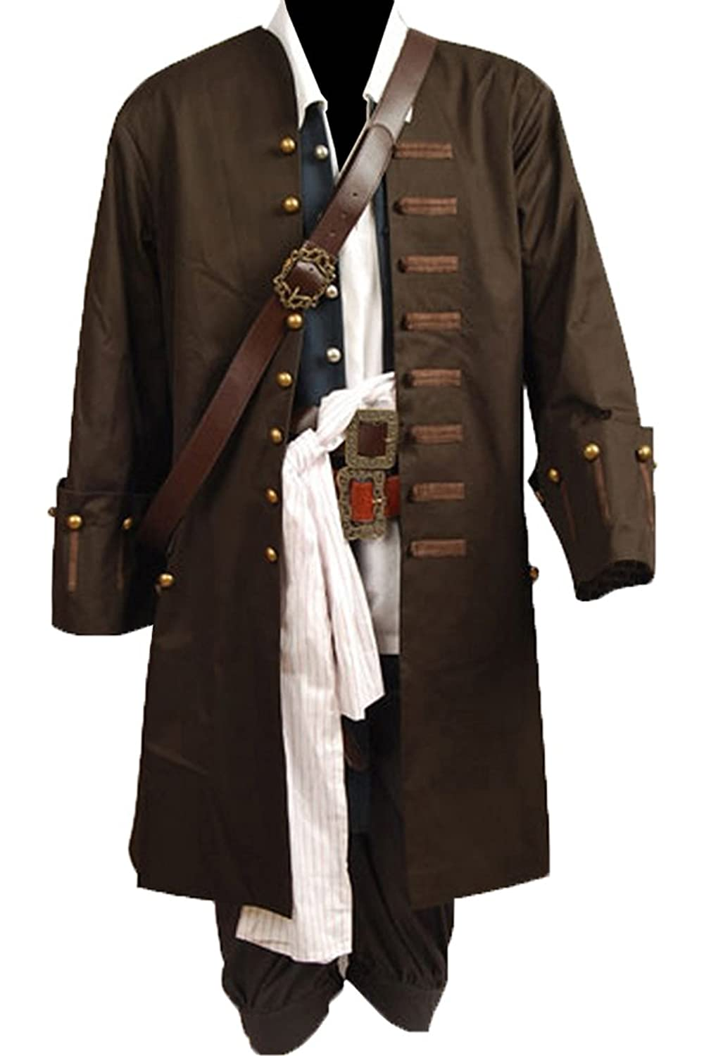 Men's Pirates Of The Caribbean Jack Sparrow Cosplay 8-Piece Costume Set - DeluxeAdultCostumes.com