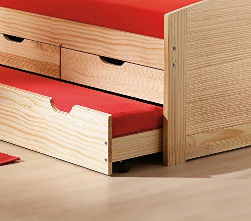 bett 90x190 90x200 kinderbett funktionsbett kojenbett g stebett massivholzbett wei natur. Black Bedroom Furniture Sets. Home Design Ideas