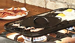 Premium Lodge Durable Reversible Cast Iron Grill Griddle Pan with a Meat Tenderizer Combo